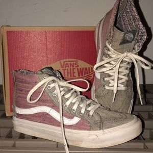 worn very little, grey and pale pink vans